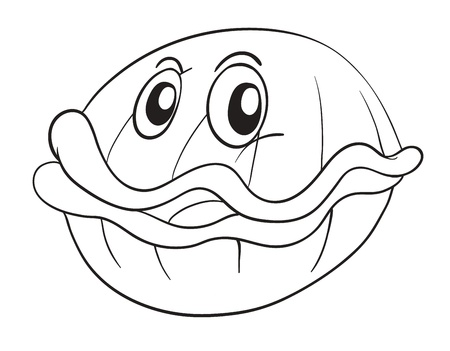 Sketch of a shell fish on a white background Vector