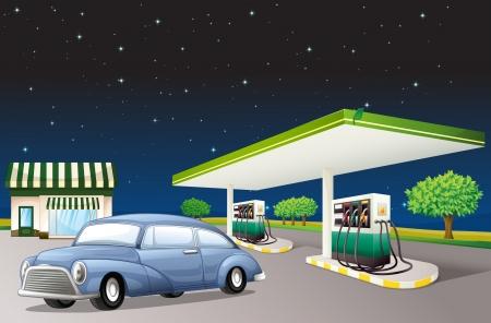 bomba de gasolina: Ilustración de una casa y una estación de gas en una noche oscura