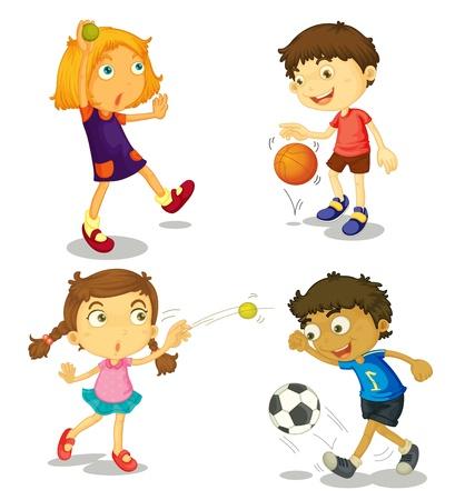 kind spielen: Illustration der Kinder auf einem wei�en Hintergrund