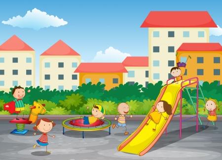 niños en area de juegos: ilustración de niños jugando en una hermosa naturaleza Vectores