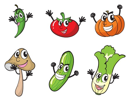 food clipart: illustration of various vegetables on a white background