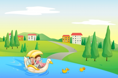 children pond: illustration of a river and kids in a beautiful nature