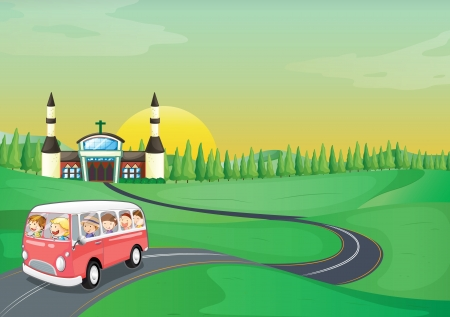 illustration of a bus and kids in a beautiful nature Vector