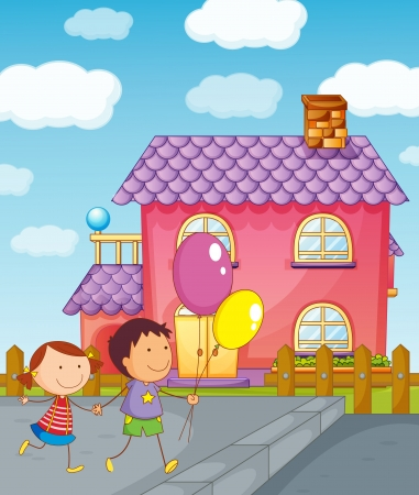 child's: illustration of kids and a house in a beautiful nature Illustration