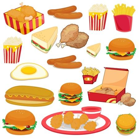 papas fritas: Ilustraci�n de los alimentos en un fondo blanco Vectores