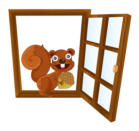 illustration of window and squirrel on white background Vector