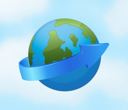 illustration of an earth globe and arrow on a blue Vector