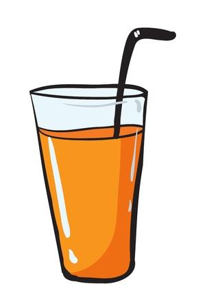 orange juice glass: illustrazione, di, vetro, paglia adn su sfondo bianco