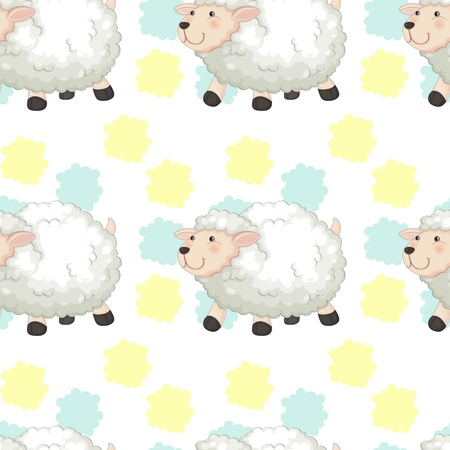 illustration of four sheeps on white background Vector