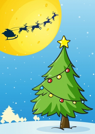cartoon star: illustration of a christmas tree on white background Illustration