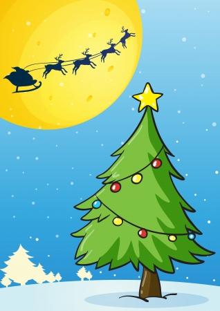 estrella caricatura: Ilustración de un árbol de navidad en el fondo blanco