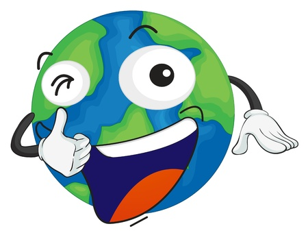 happy planet earth: ilustraci�n de la tierra del planeta sobre un fondo blanco