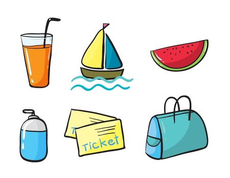 watermelon boat: illustration of various objects in white background Illustration