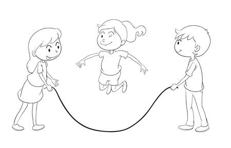 ilustración detallada de niños jugando en un fondo blanco
