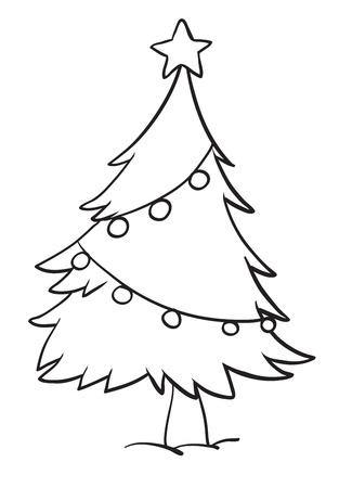 xmas linework: illustration of a christmas tree outline on white background Illustration