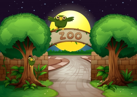 night road: illustration of a zoo and owl in a beautiful nature