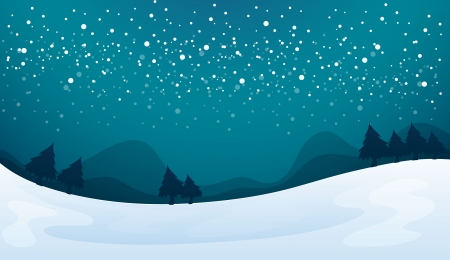 winter scene: illustration of a snowfall and beautiful nature in night