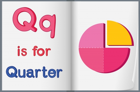 letter q: Worksheet teaching a letter and word with picture
