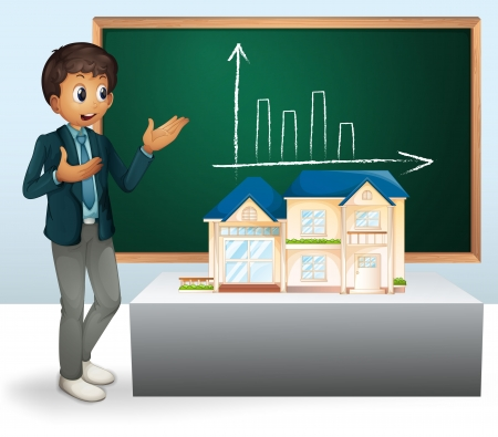 realestate: illustration of a man, house model and a board