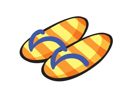 illustration of  yellow stiped slippers on a white background Vector