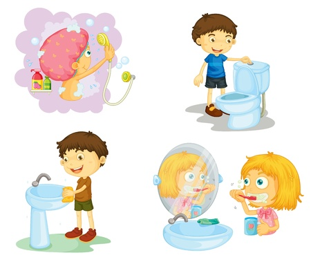 illustration of kids and bathroom accessories on a white background Vector