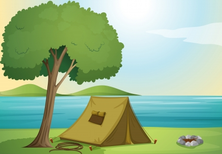 bush fire: illustration of a tree and a tent in beautiful nature