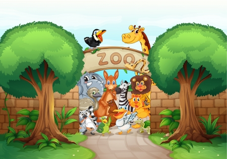 brick road: illustration of a zoo and animals in a beautiful nature