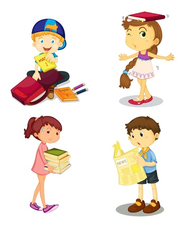 illustration of a kids and books on white background Illustration