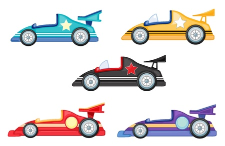 purple car: illustration of various cars on a white background