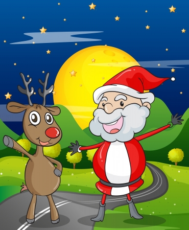 illustration of a santa claus and a reindeer in a beautiful nature Stock Vector - 15946555