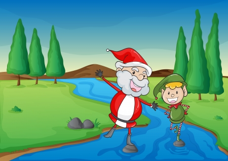 illustration of a santa claus and a boy in a beautiful nature Vector
