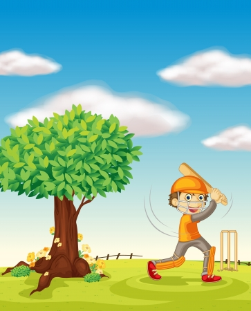 illustration of a boy and a tree in a beautiful nature Illustration