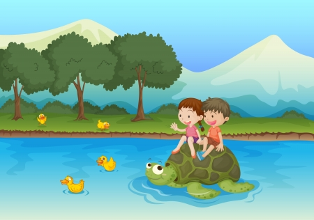 illustration of kids sailing on a tortoise in water Stock Vector - 15946495