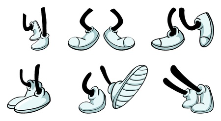 walking shoes: illustration of various legs with shoe Illustration