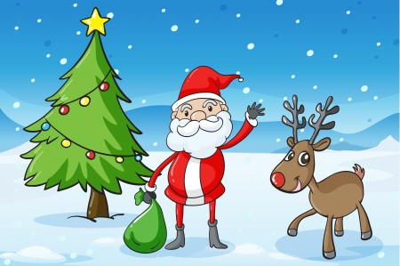 detailed illustration of a reindeer and santaclause Stock Vector - 15946585