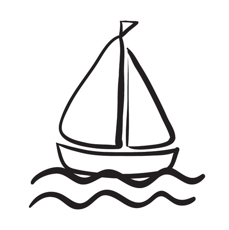 work boat: illustration of a ship sketch on a white background