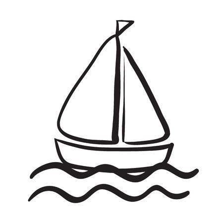 barco caricatura: Ilustraci�n de un boceto barco sobre un fondo blanco Vectores