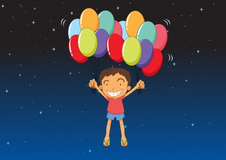 illustration of a boy and balloons in a dark night Stock Vector - 15946657
