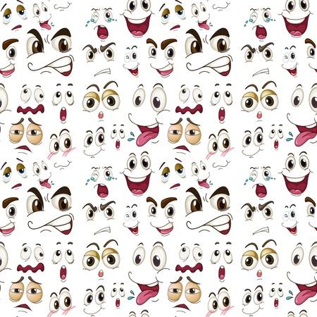ansikten: illustration av olika ansiktsuttryck på en vit bakgrund