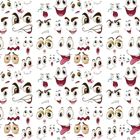 moods: illustration of various face expressions on a white background Illustration