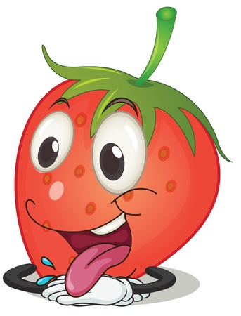 snack cartoon: illustration of a strawberry on a white background Illustration