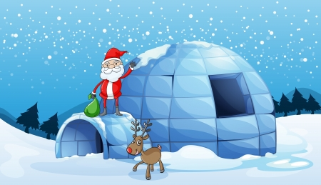 santa clause: illustration of an igloo and a santa clause in nature Illustration