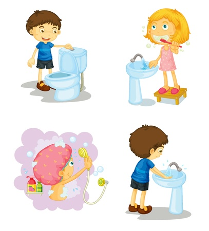 flushing: illustration of kids and bathroom accessories on a white background