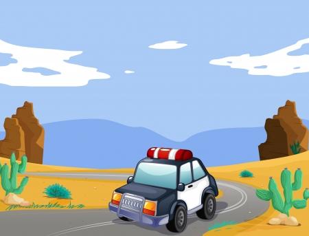cactus desert: illustration of a car in a desert