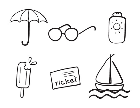 detailed sketches of various objects on a white Stock Vector - 15946572