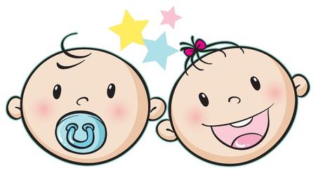 아기의 그림은 흰색 배경에 얼굴 일러스트