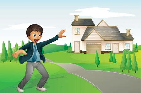 illustration of a boy and a house in a beautiful nature Stock Vector - 15946686