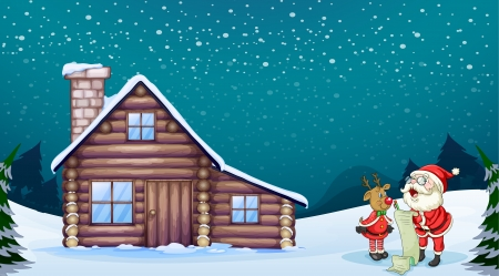 log cabin in snow: illustration of a santa claus and a reindeer in a beautiful nature