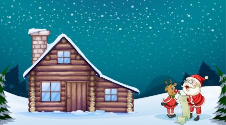 cabina: ilustraci�n de un Pap� Noel y un reno en una hermosa naturaleza
