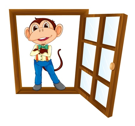 detailed illustration of a monkey in a window Stock Vector - 15946598